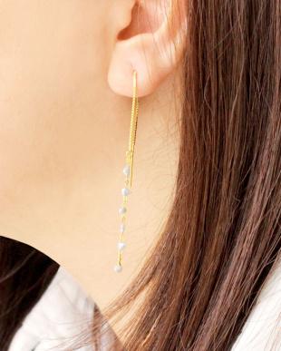 ゴールドカラー  あこやケシ真珠 6Pケシ ヨーロピアンピアス見る