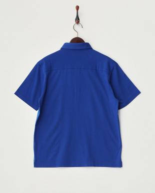 ブルー  切り替え半袖ポロシャツ見る