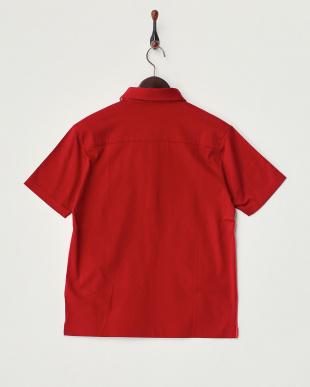 レッド  切り替え半袖ポロシャツ見る