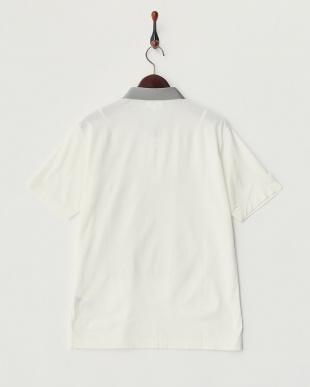 ホワイト  カット地切り替えポロシャツ見る