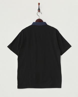 ブラック  カット地切り替えポロシャツ見る
