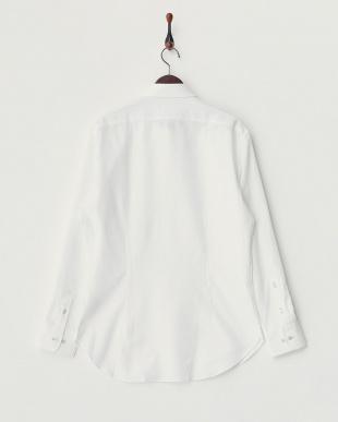 ホワイト コットンリネンボタンダウンシャツ見る