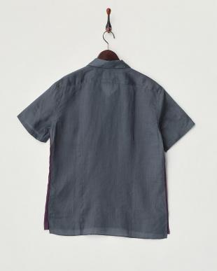 グレー 切り替えリネン半袖シャツ見る