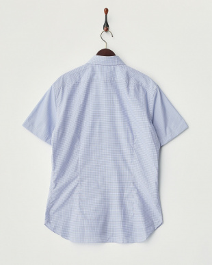 ブルー  チェック柄ボタンダウン半袖シャツ見る
