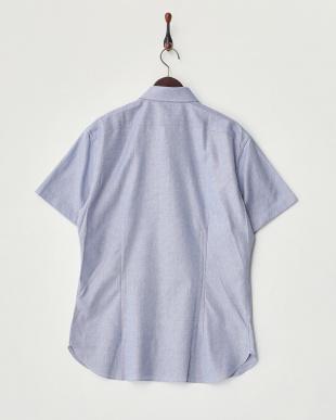 ブルー  ジャガードボタンダウン半袖シャツ見る
