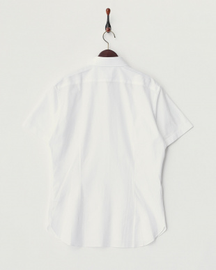 ホワイト  ジャガードボタンダウン半袖シャツ見る