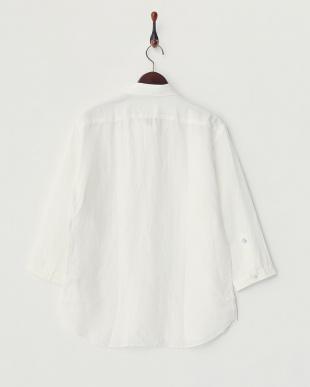 ホワイト  リネン7分袖シャツ見る