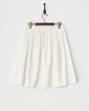 ホワイト ガーデンツイルタックフレアスカート見る