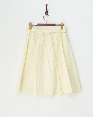 イエロー ウエストリボンストライプスカート見る
