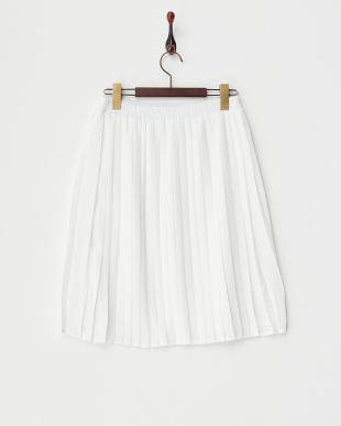 ホワイト ジョーゼットプリーツスカート見る