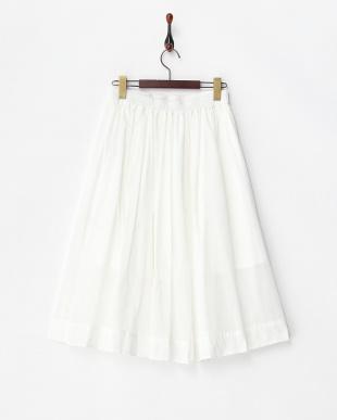 ホワイト W裾ギャザースカート見る
