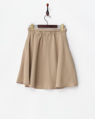 ベージュ  ベルト付きフレアースカート見る