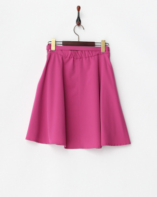 ローズピンク  ベルト付きフレアースカート見る