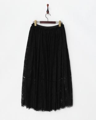 ブラック  ヒゲレースロングスカート見る