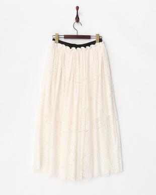 ホワイト  ヒゲレースロングスカート見る