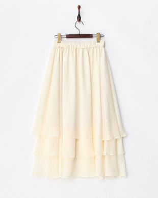 ホワイト  エアリーティアードスカート見る