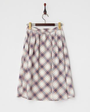 ネイビー系  チェック柄ミモレ丈スカート見る