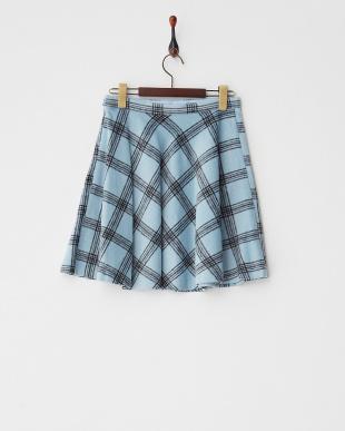 サックス シャギーチェックフレアースカート見る