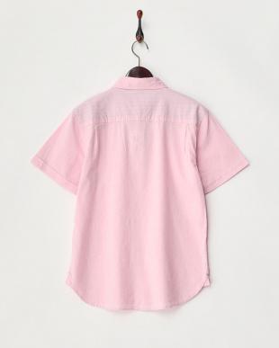 ピンク  綿麻ストレッチ半袖シャツ見る