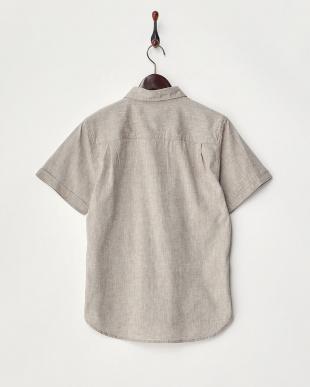 モカ  綿麻ストレッチ半袖シャツ見る