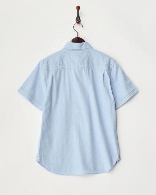 サックス  綿麻ストレッチ半袖シャツ見る
