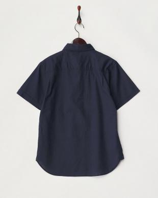 ネイビー  綿麻ストレッチ半袖シャツ見る
