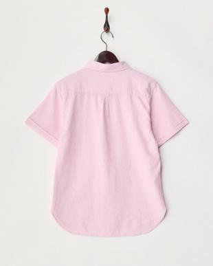 ピンク  ワッフル織半袖シャツ見る