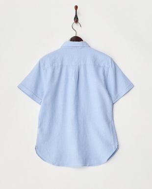 サックス  ワッフル織半袖シャツ見る