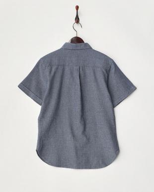 ネイビー  ワッフル織半袖シャツ見る