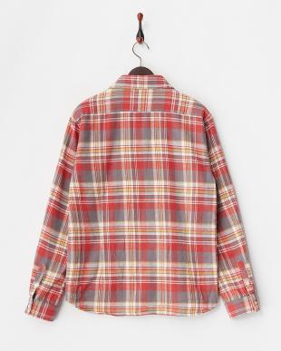 レッド  ネップネルチェックシャツジャケット見る