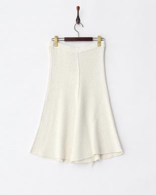 SOFT WHITE ADUNIO フリンジニットスカート見る