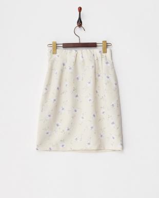 ベージュ フラワーハイウエストタイトスカート見る
