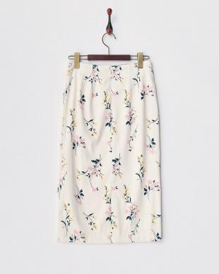 オフホワイト  ボタニカルフラワータイトスカート見る
