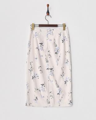 ピンク  ボタニカルフラワータイトスカート見る