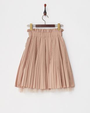 ピンク チュールティアードプリーツスカート見る