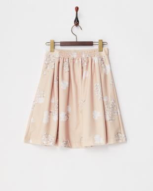 ピンク フラワータックフレアスカート見る