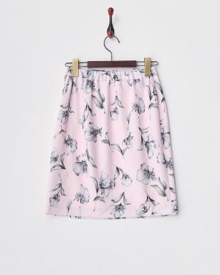 PI ピンク フラワータイトスカート見る