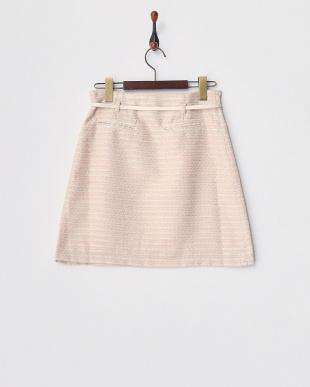ピンク ラメ混ツイードトラペラーズスカート見る