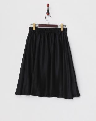 ブラック 箔プリントギャザースカート見る