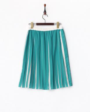 グリーン  配色プリーツスカート見る