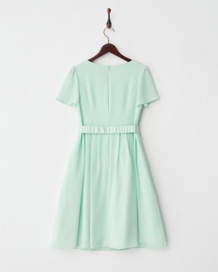 ライトグリーン  リボンベルト付きジョーゼットドレス見る