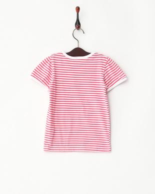 ピンク系  パフスリーブ ボーダーTシャツ見る