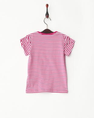 ピンク系  肩リボン チュール刺しゅうTシャツ見る