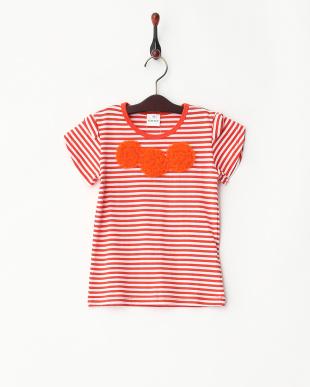 オレンジ系  肩リボン チュール刺しゅうTシャツ見る