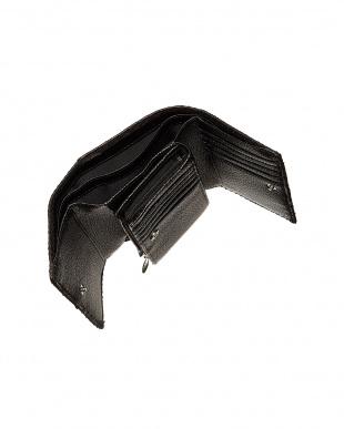 ブラック  パイソンレザー 3つ折り財布見る