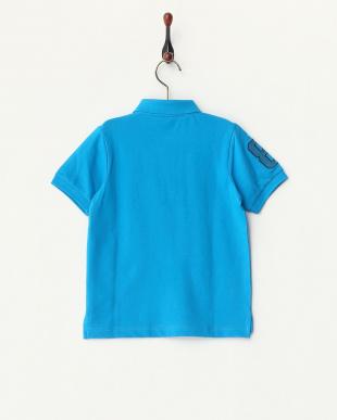 ブルー  ライオン刺繍ポロシャツ A見る