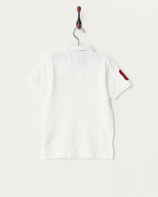 ホワイト  ライオン刺繍ポロシャツ C見る