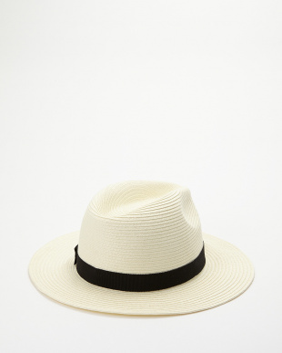 WHITE  RIBBON STRAW HAT見る