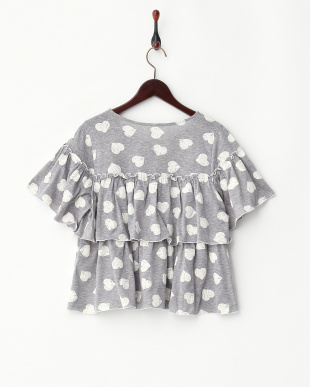 GREY  HEART RUFFLE TOPS見る