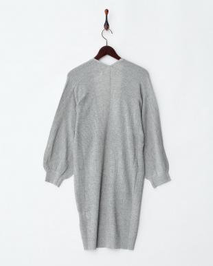 杢グレー  ワッフル編みカーディガン見る